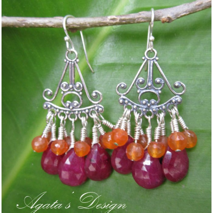 Ruby orange carnelian sterling silver chandelier earrings aloadofball Gallery